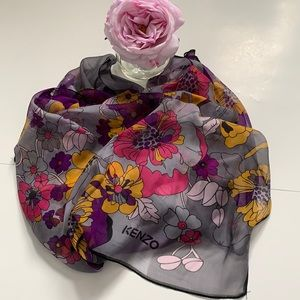 Authentic Kenzo silk scarf shawl large